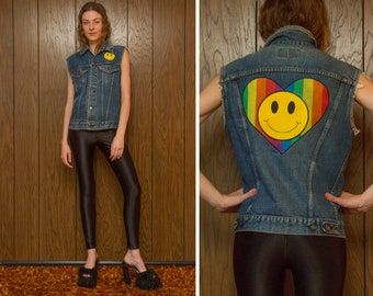 Vintage 90s Distressed Levi's USA Rainbow Heart Happy Face Pride Embroidered Smiley Back Patch Denim Jean Button Sleeveless Pride Love Vest