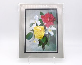 Vintage Red Yellow Rose Roses Flowers Foil Etching Art Print Shiny Metallic Black Silver Double Mat Ready to Frame in 8x10 Image 7.5 x 5.5
