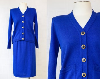 Vintage 80s Laura Petites Airline Stuartist Blue Gold Enamel Button Front Cardigan Sweater Jacket Knee Length Skirt Career Professional Suit