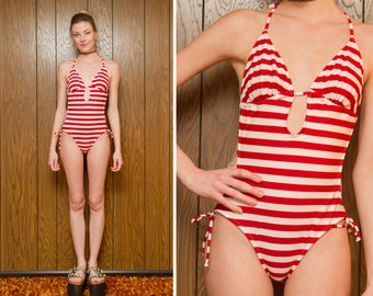 Vintage Y2K Red White Horizontal Striped Triangle Top Keyhole Cut Out Side Neck Tie  Low Rise Tankini One Piece Adjustable Swimsuit fits M L