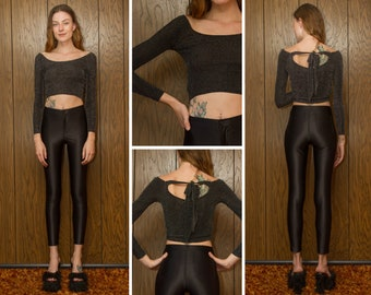 Vintage 90s Y2K Black Bow Back Lightweight Semi Sheer Textured Metallic Silver Boat Neck Long Sleeve Cropped Top Crop Blouse Shirt XS S