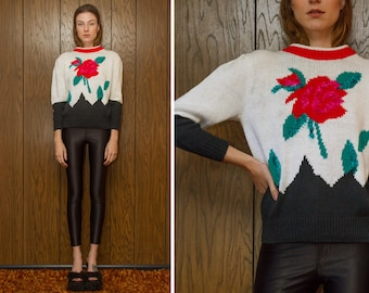 Vintage 80s 90s NEW Bristol Court Rose Flower Red White Pink Teal Black Cotton Blend Thick Knit 3-D Textured Color Block High Neck Sweater M