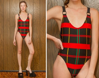 Vintage 90s Tartan Plaid Black Red Green Yellow Striped Shiny Suspender Cross Back High Cut Leg Low Back Leotard One Piece Swimsuit XS S M