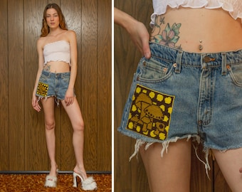 Vintage 90s Levi's USA Distressed Cut Off Frayed Mushroom Shroom Needlepoint Patch Embroidered Patched Zip Fly Blue Denim Jean Shorts M 29