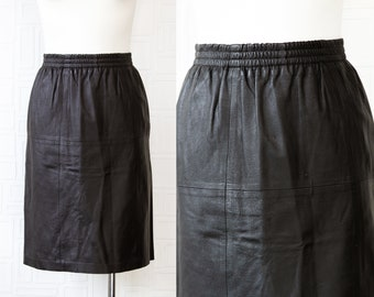 Vintage 90s Genuine Black Patchwork Shiny Leather Lined High Elastic Stretch Waist Pin Up Rocker Below Knee Length Wiggle Pencil Skirt S M