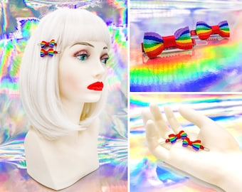 Vintage 80s 90s Red Enamel Metal Retro Rainbow Ribbon Mini Hinge Tooth Claw Hair Clip Barrette LGBTQ Pride Rave Hair Barrettes Pair Set of 2