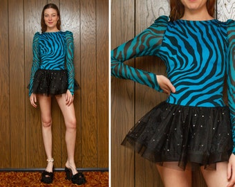 Vintage y2k Teal Blue Black Zebra Rhinestone Puff Long Sleeve Striped Tutu Skirted 80s Theme Teen Queen Dance Shorts Unitard Leotard Costume