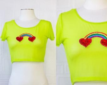 Neon Yellow Green Day Glow Mesh Sheer Black Light Club Kid Rave Sequin Rainbow Heart Applique Patch Short Sleeve Crew Neck Crop Blouse Top