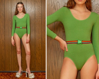 Vintage 90s RARE Green Rainbow Elastic Belted Striped LGBTQ Pride Stretch Cotton Lycra Lined Long Sleeve Scoop Leotard Bodysuit S M L XL