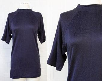 Vintage 70s 80s Lightweight Semi Sheer Dark Navy Blue Short Half Raglan Sleeve High Neck Mock Turtleneck Tunic Tall Long Length Top Shirt M