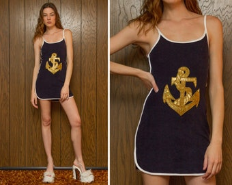 Navy Blue Gold White Beaded Anchor Nautical Applique Scoop Neck Loop Terry Cloth Mini Sleeveless Cover Up Boating Cotton Poly Dress XS S M L