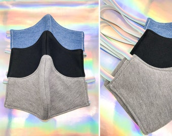 Warm Thick Washable Reusable Protective Face Mask Healthcare Safety Cold Weather Pastel Rainbow Elastic Denim Fleece Grey Black Adult  Youth
