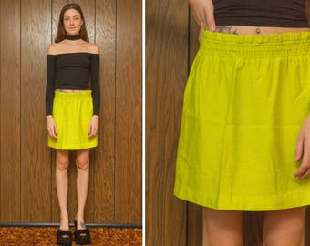 Vintage 80s 90s Textured Lime Neon Yellow Green Polyester Lined Stretch Elastic High Waist Above the Knee Mini Cover Up Beach Skirt S M L