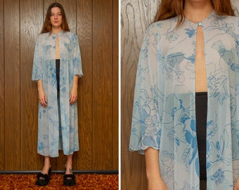 Vintage 70s 80s Sheer Mesh Baby Blue Tropical Hibiscus Flower Print Half Sleeve Button Sheath Full Length House Coat Robe Dress fits S M L