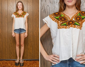 Vintage White Cognac Tan Brown Green Black Embroidered Flower Sunflower Mexican Bohemian Guatemalan Oaxaca Frida Kahlo Peasant Blouse Top S