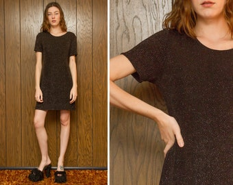 Vintage 90s Hampton Nights Comfy Short Sleeve Silver Glitter Metallic Lightweight Textured Above The Knee Mini Little Black Cocktail Dress M
