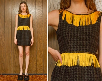 School Homecoming Prom Queen Black Sequined Houndstooth Gold Yellow Fringe Color Guard Band Tea Cup Sleeveless Mini Peplum Letterman Dress S