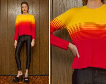 Vintage 90s Tommy Hilfiger Fall Sunset Rainbow Striped Red Yellow Orange Gradient Ombre Multi Color Stripe Crewneck Long Sleeve Ski Sweater
