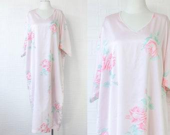 Vintage 70s Mary McFadden Pastel Pink Shiny Rose Flower Short Sleeve MuMu Kaftan Mid Calf Ankle Length House Dress fits Plus Size *Damaged*
