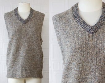 Vintage 70s 80s Royal Knit MIlls Thick Wool Nylon Gray Taupe Blue Unisex Chunky Ribbed Collar Sleeveless V-Neck Sweater Vest Large