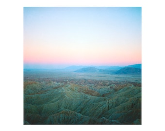 Print Only - Fonts Point Borrego Springs California Film 120mm Pastel Sunset Desert Mountains Landscape Color Photography Photograph Square