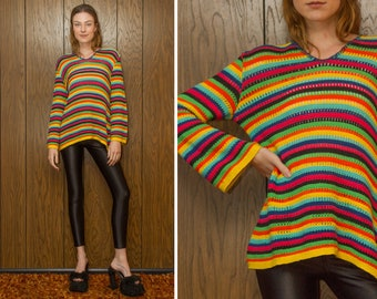 Vintage 90s Fiesta Neon Striped Cotton Loose Knit Textured Graphic Rainbow Multi Color Stripe V Neck Lightweight Bell Sleeve Tunic Sweater M
