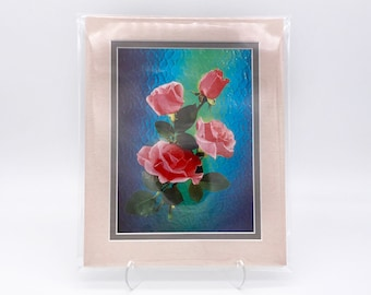 Vintage Red Pink Rose Flower Faux Stained Glass Foil Etching Art Print Silk Pink Grey Shiny Double Mat Ready to Frame 8x10 Image 7.5 x 5.5