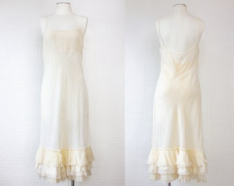 Vintage 90s Y2K Yellow Cream Off White Ivory Ruffle Skirt Thin Sheer Spaghetti Strap Natural Cotton Princess Wedding Slip Shift Dress S M