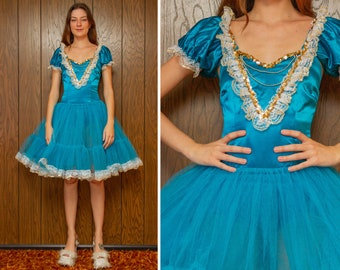 Vintage 90s Shiny Aqua Teal Blue Gold TuTu Tulle Sequin Dance Ice Skate Ballet Open Puff Sleeve Skirted Leotard Princess Dress Costume XS S