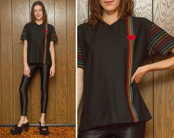 Vintage 80s 90s NEW Lightweight Black Rainbow Embroidered Heart V neck Mesh Stripe Striped Textured Golf Shirt Short Sleeve Top Blouse S M L