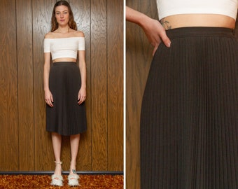 Vintage 80s Dark Charcoal Gray Classic A Line Accordion Pleated High Waist Below The Knee Circle Length Librarian Teacher Pin Up Skirt XS S