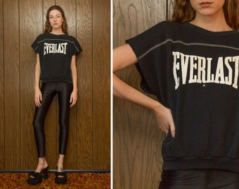 Vintage 90s Everlast Gym Venice Beach Weight Lifting Boxing Black Raglan Cut Off Short Sleeve Muscle Graphic Work Out Crewneck Sweatshirt S