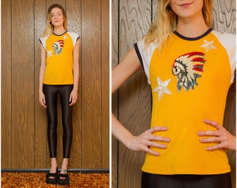 Proud Native American Sequined Chief With Headress Yellow Navy Blue Red White Star Beaded Metallic Cap Sleeve Raglan Ringer T-Shirt Top S M