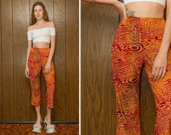Vintage 90s Trippy Liquid Burnt Orange Rust Sunset Red Brown Burnout Velvet Polyester Straight Leg Abstract Capri Swirl Psychedelic Pants S