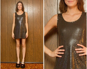 Vintage 90s Sleeveless V Sequin Black Clear Dot Sparkle Shiny Sequined Sleeveless Lined Scoop Neck Cocktail Formal Mini Dress S M 4