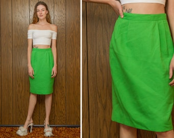 Vintage Classic 60s 70s Mod Bright Kelly Green Poly Cotton Crosshatch Textured Pencil Knee Length Lined Pleated High Waist Pin Up Skirt S 25