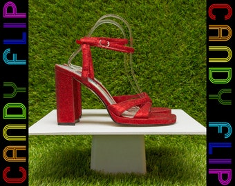 Vintage 90s Red Glitter Dorothy Wizard of Oz Ruby Slippers T-Strap Strappy Thick Chunky Block Heel Club Kid Goth Metallic Sandals Shoe 8