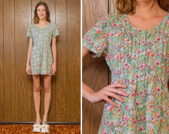 Vintage 90s Pastel Teal Green Pink White Orange Flower Floral Pattern Button Front Short Sleeve Tie Back Romper Jumpsuit Onsie Shorts S M L