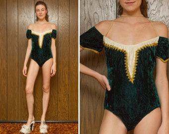 Vintage 80s Dark Green Crushed Velvet Metallic Gold Off The Shoulder Skate Dance Leotard Bodysuit Princess Medieval Renassance Costume S M