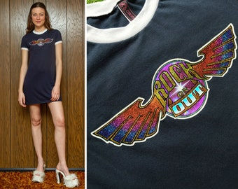 Vintage 80s Graphic Navy Blue White Shiny Metallic Glitter Rock on Out Rainbow Wings On Short Sleeve Mini Ringer T Shirt Dress S