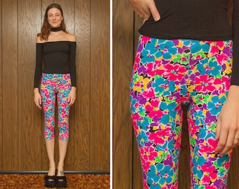 Vintage 90s NEW Gandy Rainbow Neon Flower Floral Pink Blue Black Yellow Green Workout Beach Graphic Print Spandex Gym Legging Capri Pants S