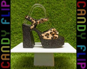 5d608751f7b Vintage 90s Yellow Box Velboa Faux Fur Fuzzy Leopard Cheetah Black Glitter  Metallic Platform Chunky Thick Cuban Heel T-Strap Sandal Shoe 6.5