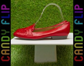 Vintage 80s 90s Naturalizer Red Black Shiny Leather Crocodile Penny Loafer Oxford Slip On Preppy Flat Women's Shoe 8 M