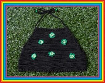Vintage Deadstock 90s Black Kelly Lime Neon Green Summer Festival Crochet Sheer Mesh Beaded 3-D Flower Cotton Crop Halter Top One Size S M L