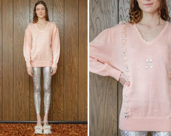 Vintage 80s Baby Pastel Pink Beaded Jewel Pearl Jeweled Granny Cable Knit Acrylic Long Sleeve Tunic Pullover V Neck Sweater Oversize S M
