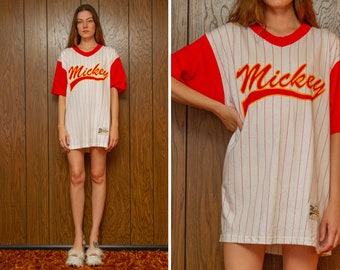 Vintage 90s 1992 Mickey Sport Pin Stripe Red White Yellow Disney Fashions Faux Jersey Oversized V Neck Ringer Tall Long Length T-Shirt L XL