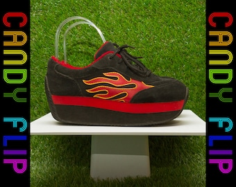Vintage 90s y2k Rare VOLATILE Club Kid Chunky Black Red Yellow Suede Arson Fire Leather Flames Platform Sneakers Women's Tennis Shoes US 6.5