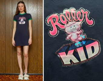 Vintage Navy Blue Green Shiny Metallic Glitter Roller Kid Skates Heat Press Graphic On Short Sleeve 90s Vibes Mini Ringer T Shirt Dress S M