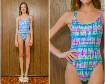 Vintage 90s Neon Blue Pink Green Yellow Rainbow Vaporwave Kawaii Graphic High Hi Cut Cross Back One Piece Swimsuit Bodysuit Leotard S M