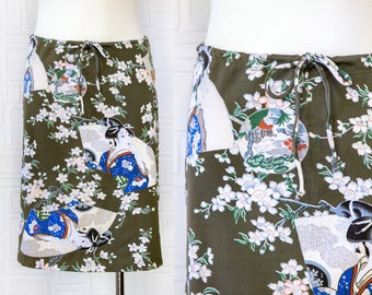 Vintage 90s Y2K Taupe Green Peach Blue Iconic Japanese Garden Geisha Flower Cherry Blossom Print Drawstring Mini Knee Length Skirt fits M L